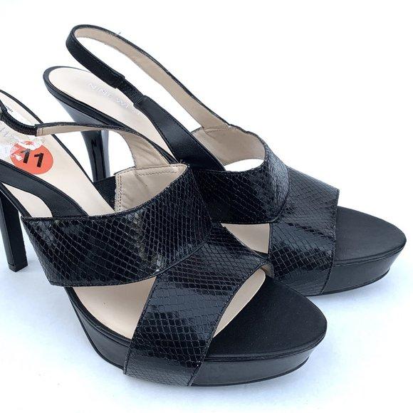 Fairgame Black Platform Sandals 11 M